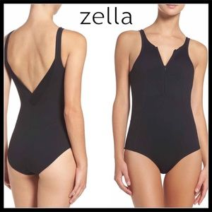 ZELLA ZIP FRONT SUPPORTIVE KNIT BODYSUIT LEOTARD